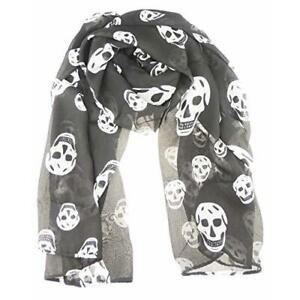 Ladies Large Soft Retro Skull Goth Biker Rock Skull Ghost Silhouette Wrap Scarf