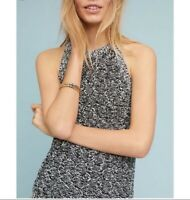 Anthropologie Moth Debussy Marled Chunky Knit High Neck Sweater Tank Top Retro S