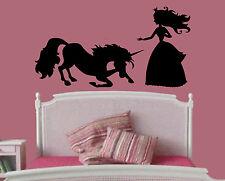 Wall Room Decor Vinyl Sticker Mural Decal Nursery Girl Unicorn Princess F2222