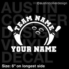 """6"""" PERSONALIZED BOWLING vinyl decal car laptop sticker - custom league team gift"""