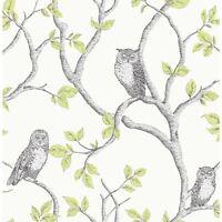 WOODLAND OWLS WALLPAPER - GREEN - FINE DECOR FD40637 - FEATURE WALL TREES NEW