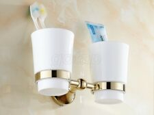 Golden Brass Bathroom Ceramics Double Toothbrush Tumbler Holder Wall Mounted