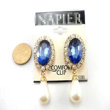 Boucles d'Oreilles Clips Doré Pince Pince Ovale Bleu Goutte Perle Retro J6
