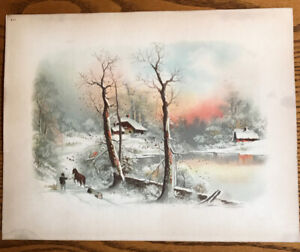 1894 J.Hoover Chromolithograph Plate 401 Snow River Horse House Country