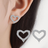 Fashion Women 925 Sterling Silver Love Crystal Heart Earrings Stud Fine Jewelry
