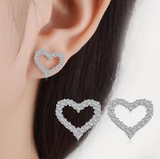 925 Sterling Silver Crystal Heart Stud Earrings Women Love Fashion Jewelry
