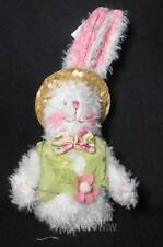 """Gersons 5"""" Chenille Bunny with Green Vest and Straw Hat"""