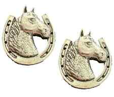 More details for 2 x horse head & horse shoe handcrafted from english pewter pin badges tsb-a62