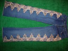 Women's Mixit Flare Cut Embellished Blue Jeans Cotton Blend Size 6