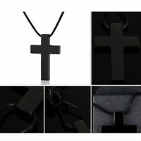 Christian Cross Braided Cord Chain Men Women Black Stainless Steel Necklace