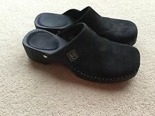 CHANEL 100% authentic womens black suede slip on wooden clogs size 3.Great cond