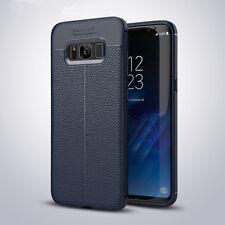 Funda TPU Gel para SAMSUNG Galaxy S8 S8+ Plus EFECTO CUERO rugged leather case