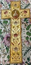 Antique French Hand Embroidery Church Vestment Chasuble Priest 22 X 44 Inches