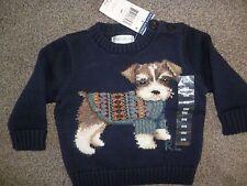 Brand New 6 months Ralph Lauren  knit jumper with dog on front Navy 100% Genuine