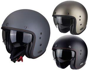 Scorpion Belfast Solid Jet Helmet Black Titanium Matte Motorcycle with Sun Visor