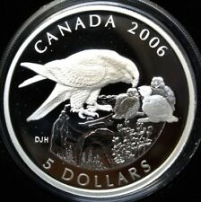 2006 CANADA $5 DOLLAR 99.99 SILVER PROOF COIN & PEREGRINE FALCON  STAMP SET
