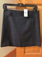JCREW Short Charcoal Gray Fully Lined Skirt Lightweight Wool/Cashmere Blend BNWT