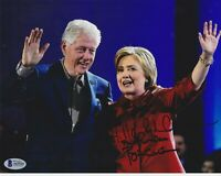 PRESIDENT BILL & HILLARY CLINTON SIGNED 8X10 PHOTO AUTOGRAPH BECKETT BAS COA