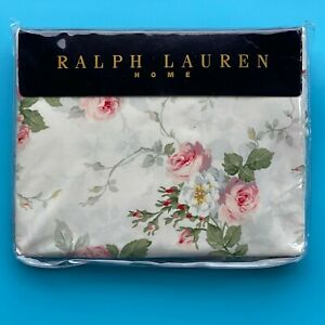 Ralph Lauren MEADOW WAY Ivory Rose Floral Queen Flat Sheet Cottage Core