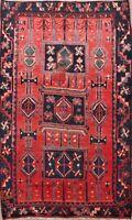 4x6 Red Vintage Hamedan Geometric Area Rug Wool Hand-knotted Oriental Carpet