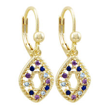 Gold Finish Lab-created Spinel Blue with Purple CZ's Open Oval Teen's Earrings
