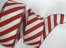 """Red White Candy Cane Stripes 2 1/2"""" inch wide Wired Ribbon 5 Yards Christmas Bty"""