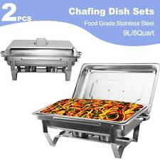 9L/8Q 2Pack Chafer Chafing Dish Sets Pans Stainless Steel Food Warmer Full Size