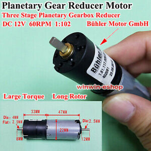 DC 12V 60RPM Bühler 22MM Planetary  GearMotor Reduction Box Dual Shaft DIY Robot
