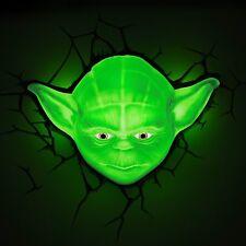 Lampara de Pared 3D LED Niño Niña Jedi Master Yoda Habitación Infantil Star Wars