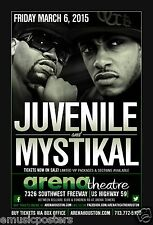 Juvenile / Mystikal 2015 Houston Concert Poster - Hip Hop & Rap Music Legends