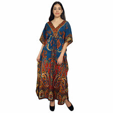 Women's Paisley Long kaftan Indian Nightwear Dress Maxi For Ladies