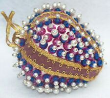 Vintage Purple & Blue Pearl Beaded Sequin Christmas Ornament B4
