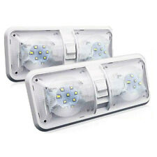 2pcs RV LED 12V Fixture Ceiling Camper Trailer Marine Double Dome Light White
