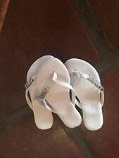 GIRL SHOES NEW WHITE GIFT SANDAL party FLOWER WEDDING SZ 13 1 NWT BLING FUN
