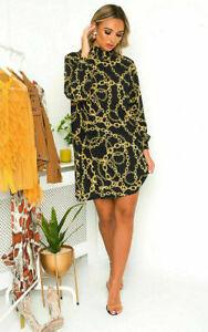 Italian Women's All over Chain Print Ladies Tunic High Neck Shift Mini Dress Top