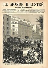 Obsèques de Jules Michelet Cortège de la rue d'Assas à Paris GRAVURE PRINT 1876