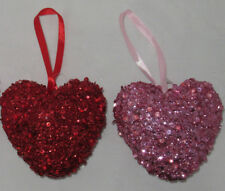 Ashland Valentine's Day Sequin Glitter HEART SHAPED ORNAMENT You Pick red pink