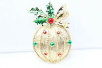 BEAUTIFUL Vintage GERRY's Goldtone Enameled Christmas Ornament Pin Brooch D4