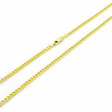 14K REAL Yellow Gold 2.5MM Womens Curb Cuban Chain Link Pendant Necklace 18""