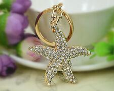 Lovely Starfish Keyring Rhinestone Crystal Pendant Key Chain Ring Bag Gift New