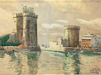 Aquarelle Port La Rochelle Après Guerre 1946  à Identifier Antique French Paint