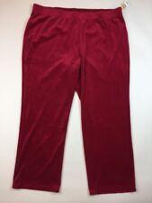 NEW KAREN SCOTT Women's Pants 3X Red Velvet Lounge Plus size Velour casual X3-30