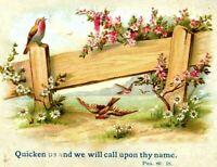 Antique Christian Bible Psalm Verse Trade Card Religious Paint Birds Flower Hope