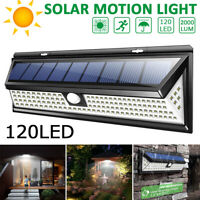 120 LED Solar Powered PIR Motion Sensor Wall Security Light Lamp Garden Outdoor