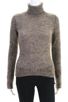 Dolce & Gabbana Womens Long Sleeve Turtleneck Sweater Top Brown IT Size 42