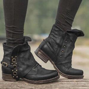 2020 Women Winter Zipper Faux Leather Ankle Biker Boots Ladies Chunky Heel Shoes
