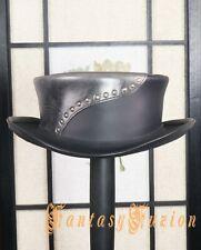 NEW Short Top Hat Victorian Burning Man Leather Hat Pork Pie Steampunk