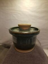 Tollefson Pottery lidded bowl with spoon slot.