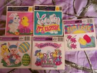 Spring/Easter Static Window Clings Bunnies Chicks Flowers Lot of 5