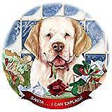 Clumber Spaniel Lemon/White Dog Porcelain Ornament 'Santa. I Can Explain!'